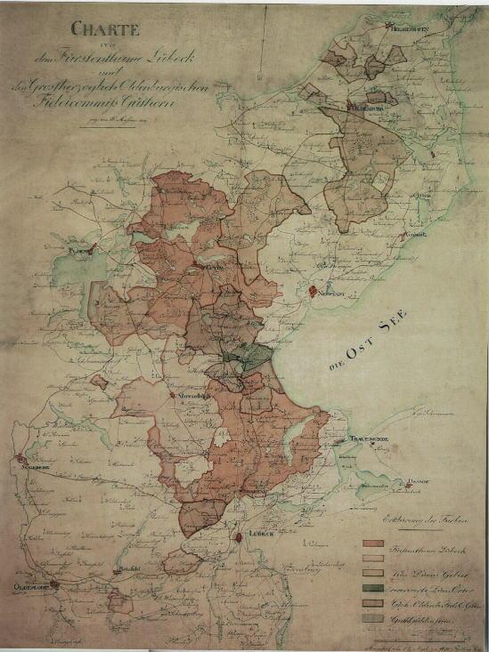Karte von Lübeck um 1819